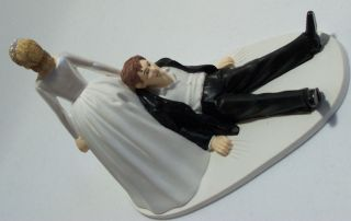 BRIDAL WEDDING HUMOROUS SEXY CAKE TOPPER Bride Drags Groom to Alter