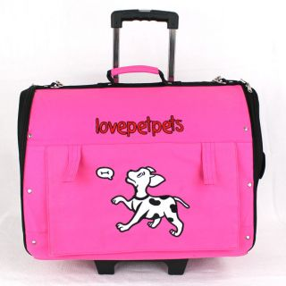 Hot Pink Backpack Roller Wheel Pet Carrier Bag Car Seat