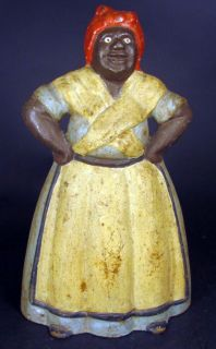 Antique Large Aunt Jemima Mammy Hands on Hips Cast Iron Doorstop