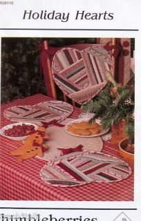 Patchwork Pattern Tablerunner Primitive Scrap Heart Chair Pad