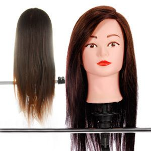 Hairdressing 22 80 Real Hair Training Head with Clamp