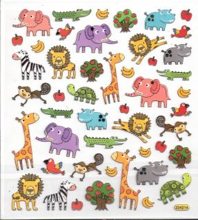 Cute Zoo Animal Stickers Zebra Lion Alligator Turtle