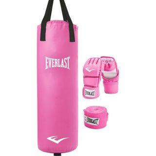 Everlast 70 lb Heavy Bag Set w/ Gloves & Stand (Pink or Black)