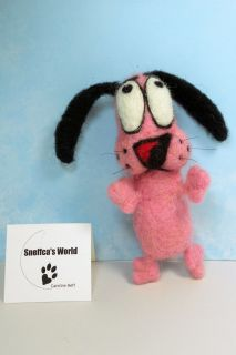 Sneffcas World Needle Felted OOAK Courage The Cowardly Dog Cartoon