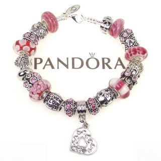 Authentic Pandora Bracelet Pink Red Heart Live Love Laugh Joy Charm