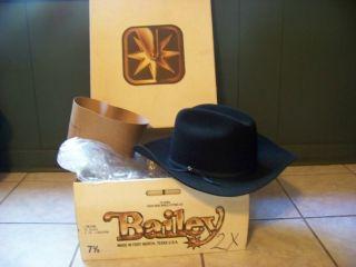 NEW Bailey Lowdown 2X Cowboy Western Hat Size 7 3 8 4 In Longhorn