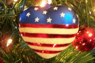Red White Blue Heart Patriotic Glass Christmas Ornament