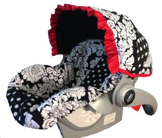 Girl Infant Baby Car Seat Slip Cover Red Ruffle Damask