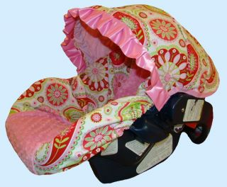 Girl Infant Baby Car Seat Cover for Baby Girl Paisley Pink