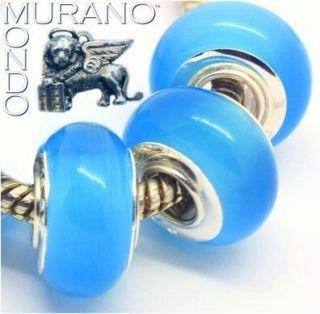 Art Glass Bead For European Charm Bracelets BABY BLUE CATS EYE 1 Bead