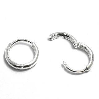 Earrings Sterling Silver 925 Baby Girl 8mm Hoop Huggie Infants Plain