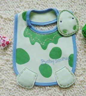 Cute Green Color Dinosaur Baby Feeding Bib Infant
