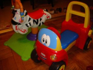 Fisher Price Bounce & Spin Zebra plus Little Tikes Cozy Coupe Car Lot