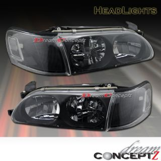93 97 Toyota Corolla Headlights Black Clear Corner
