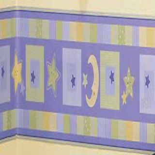 Goodnight Blue Star Moon Baby Nursery Wall Border 60ft