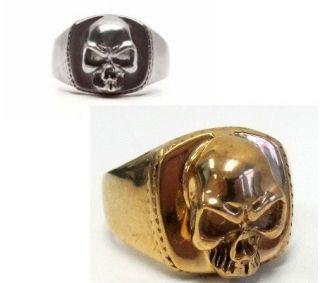 Skull Ring Biker SAMCRO Gold Sons of Anarchy Baby Ring Silver Black