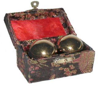 set of 2 balls in black box goldtone chrome plated metal balls box