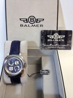 Balmer Swiss Mens Cygnus Automatic Blue Leather Strap/Blue & Silver