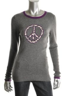 Autumn Cashmere New Gray Cashmere Ribbed Trim Long Sleeves Pullover
