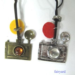 Silver Antiqued Camera Pendant Glass Ball Suede Leather Necklace