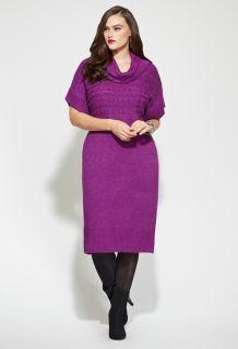 Avenue Plus Size Cableknit Trim Cowl Neck Sweater Dress