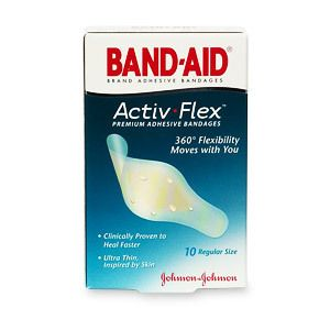 Band Aid Activ Flex Premium Adhesive Bandages Regular 10 Ea
