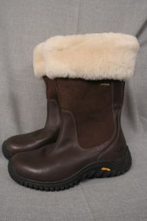 Sz 7 UGG Bandon Chocolate Brown Sherling Leather Gore Tex 5497 Boots
