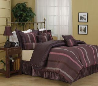 Windsor Purple Stripe 7 Piece Comforter Set Bed in Bag Brand New King
