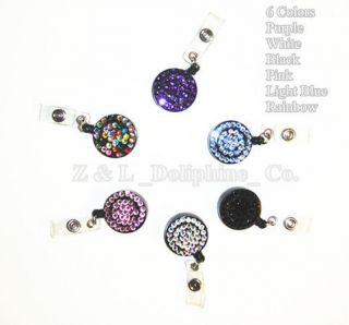 Bling Multi Colored Rhinestone Retractable ID Badge Reel Holder