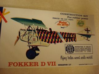 Comet Fokker D VII Balsa Wood Scale Model Airplane Kit