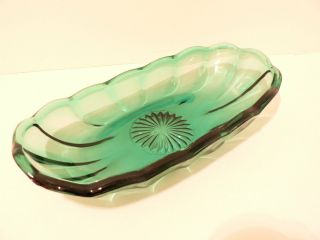 Anchor Hocking Banana Split Ice Cream Sundae Dish Teal Blue Green