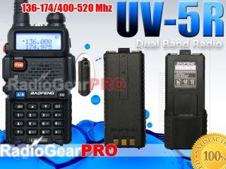 BaoFeng UV 5R Dual Band Ham Radio 136 174/400 520 + extra 3800 mah
