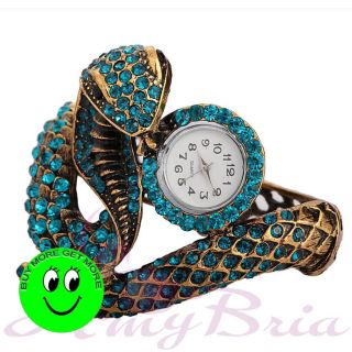 Vintage Alloy Gold Tone Crystal Serpent Lizard Crocodile Watch