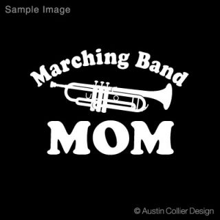 marching band mom trumpet white vinyl decal