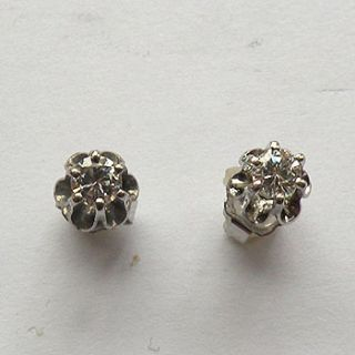 14k White Gold Diamond Stud Earrings Buttercup Mounting