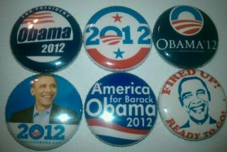 6x Barack Obama 2012 Presidential Buttons Badges shirt pins FIRED UP