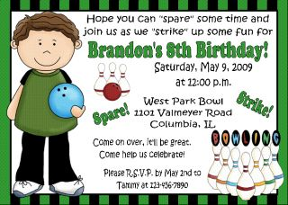 12 Bowling Birthday Ticket Invitations Boy or Girl Twin