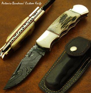 Antonio Banderas 1 of A Kind Custom Lock Back Damascus Folding Pocket