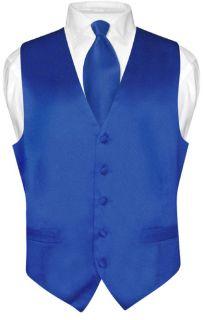 Biagio Mens Solid Royal Blue Silk Dress Vest Necktie Set