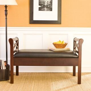 Backless Faux Leather STORAGE BENCH Espresso Wood Black Seat Foyer