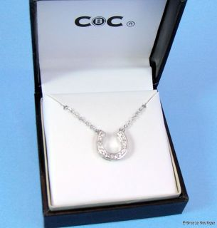 CBC City by City Silver Tone Crystal Accent Horseshoe Pendant