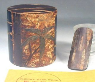 Japanese Tea Ceremony 72 Cherry Tree Bark Wood Natsume Caddy Canister