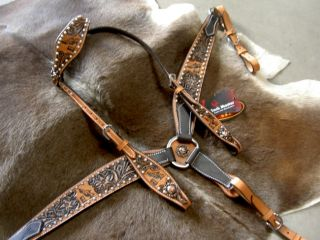 Western Leather Headstall Tack Set Antique Barrel Racing S1