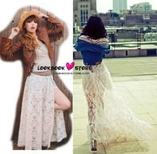 Leg Baring Lace Thigh High Side Slits Maxi Long Skirt