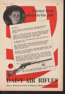 1933 Daisy Air Rifle BB Gun Buzz Barton Sport Plymouth Shoot Boy