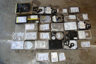 ASSORTED LOT 32 COMPUTER HARD DRIVES FOR SCRAP PLATINUM PRECIOUS METAL
