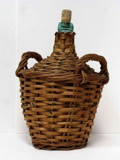 Vintage Viresa Green Glass Large Wine Jug Jar Demijohn Wicker Straw