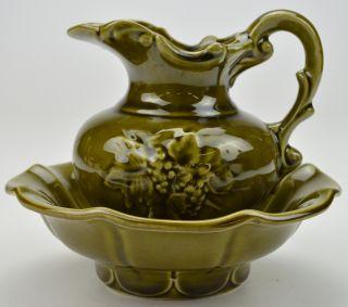 McCoy Pitcher Wash Basin Handmade Art Pottery Collectible Home Garden