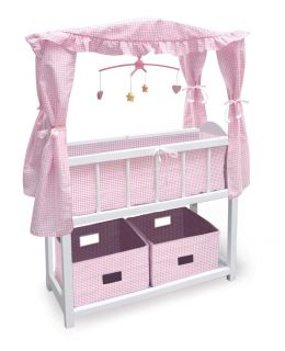 Basket Canopy Doll Crib w Baskets Bedding Mobile 01723 New