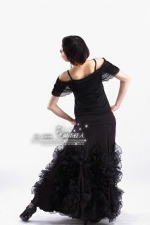 NEW Latin Ballroom Dance dress Flamenco skirt #HB108 Size S M L Black